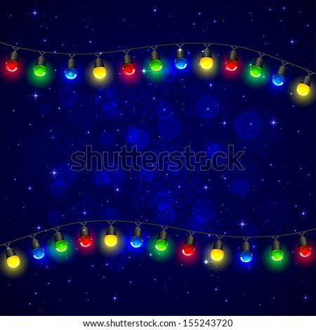 Colorful Christmas light on blue background, illustration.