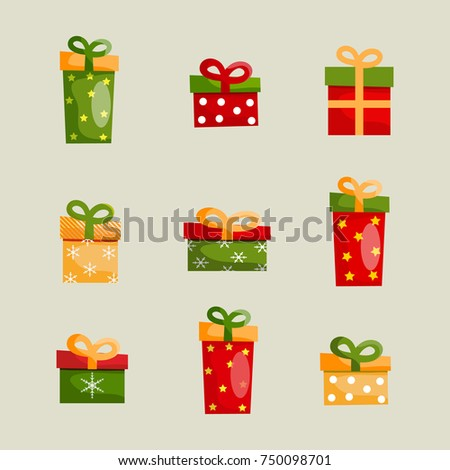 Colorful Christmas present boxes set of different shapes with ribbon bows on light background isolated vector illustration