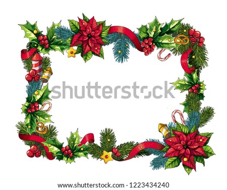 Colorful christmas rectangular wreath with pines, holly, poinsettia, berries, bretzels, ribbons.