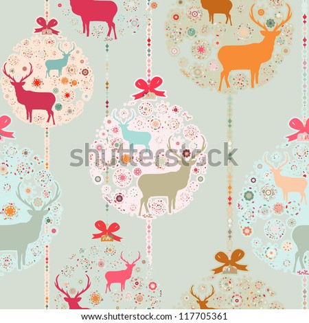 Colorful Christmas seamless pattern with balls , deer and snowflakes. And also includes EPS 8 vector
