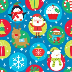 colorful christmas seamless pattern with cute christmas icon