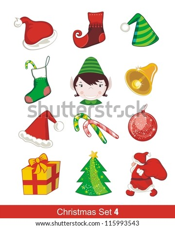 Colorful Christmas set with various seasonal objects