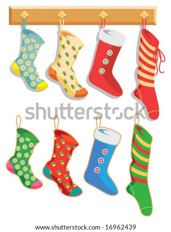 Colorful Christmas Stockings hanging on hooks. Vector layers make separating elements easy.