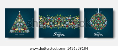 Colorful  Christmas tree,  ball.  Golden, red, green, white  decoration. Happy New Year background. Gold Xmas  reindeer, gifts,  snowflakes. Vector template  for greeting  card.