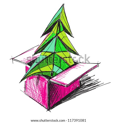 Colorful Christmas tree in a present box sketch vector illustration