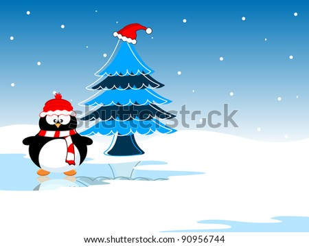 Colorful Christmas tree on  abstract background with copy space in brown color for Christmas  & other occasions.