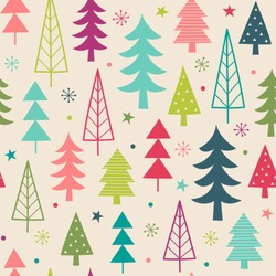 Colorful christmas trees seamless pattern background