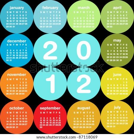Colorful circular 2012 calendar Сток-фото ©