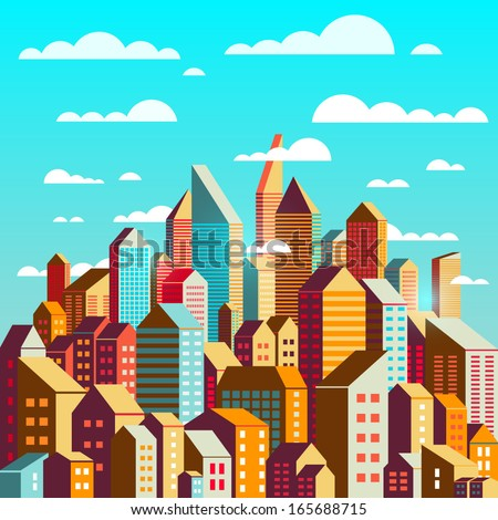 Colorful city at daylight. Vector illustration