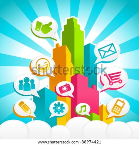Colorful City Media Bubble Speech