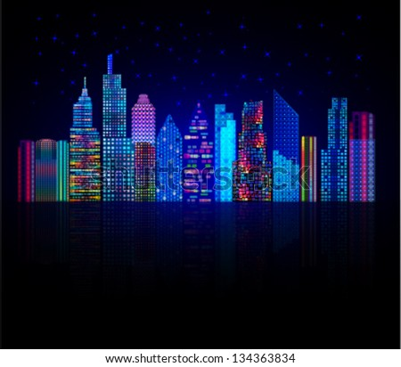 colorful city panorama