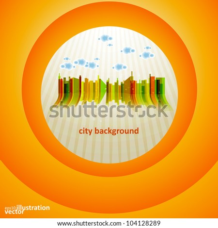 Colorful city silhouette, eps10 vector background.