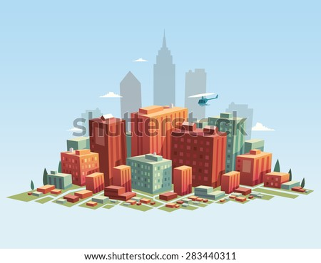 colorful city vector