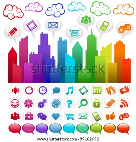 Colorful city with social media icons and clouds