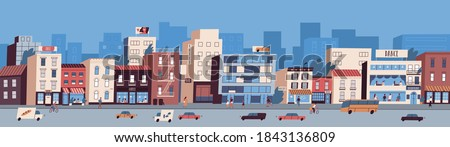 Colorful cityscape with buildings facades, transport on the road and people walking on the street. Urban skyline. Busy downtown area. Vector illustration in flat cartoon style