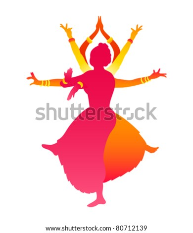 Colorful classic Indian female dance Bharatanatyam