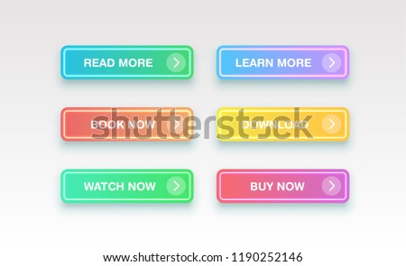 Colorful clean buttons for websites, vector illustration #1190252146