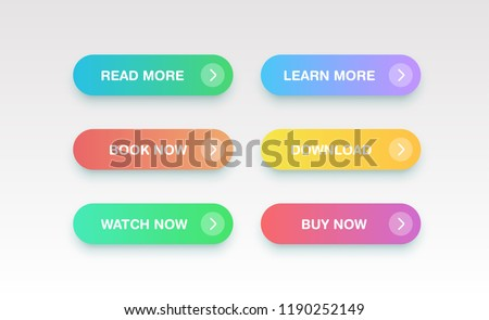 Colorful clean buttons for websites, vector illustration #1190252149