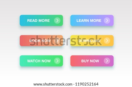 Colorful clean buttons for websites, vector illustration #1190252164