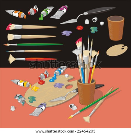 Colorful clip art collection with brushes, ink blots, palette, ink tubes, cup, knife. No gradient fills. Easy to customize.