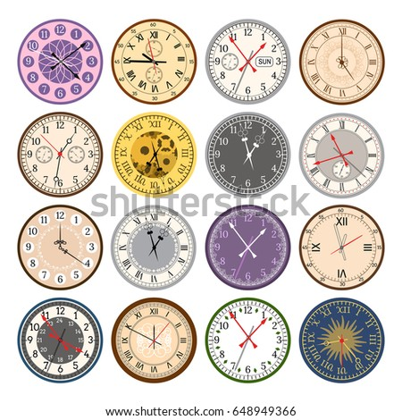 Colorful clock faces vintage modern parts index dial watch clockwise arrows numbers dial face vector illustration