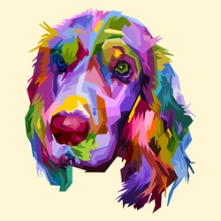 colorful cocker spaniel dog isolated on pop art style. vector illustration.