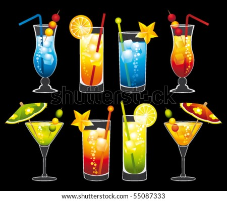Colorful cocktails collection. Vector illustrations.