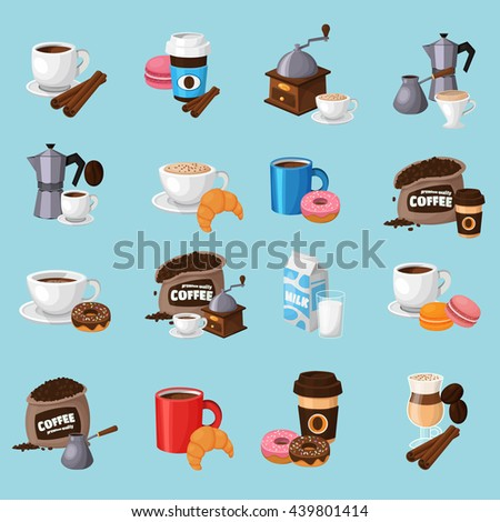 Colorful coffee vector icons set.