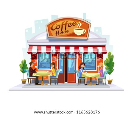 Colorful coffeeshop building. Summer Street Cafe terrace. Cartoon coffee cafe facade with people and city landscape.