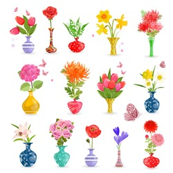 colorful collection art vases with bouquet of flowers for your design