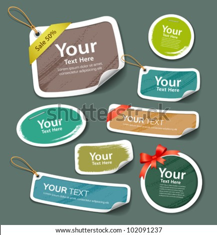 Colorful collection label and tag paper paint brush texture. vector illustration