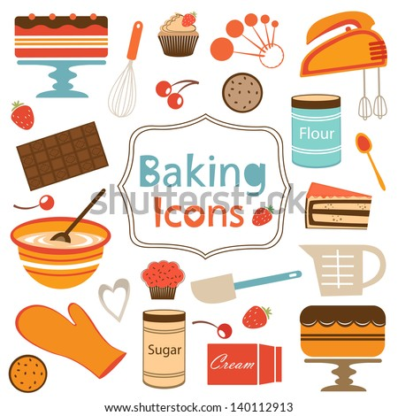 Colorful collection of baking items. Vector illustration