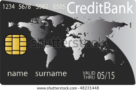 Colorful collection of credit cards. Highly detailed vector