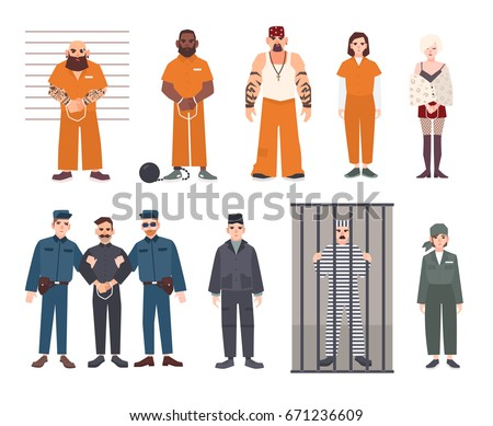 Colorful collection of male and female prisoners. Arrested men and women set. Flat vector illustration.