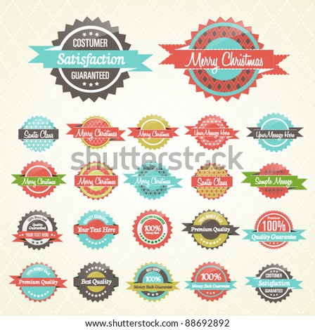 Colorful Collection of Premium Quality and Christmas Retro Badges
