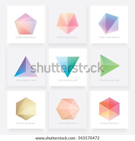 Stock Photo Colorful collection set of soft mesh facet crystal gem logo designs or web elements. Pentagonal, triangular and hexagonal polygon shapes.