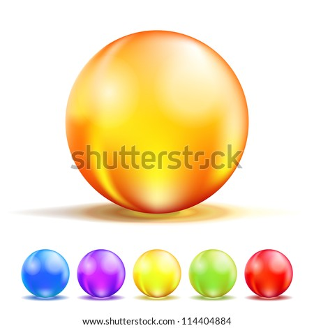 Colorful Color Glass Balls isolated on white. Vector illustration