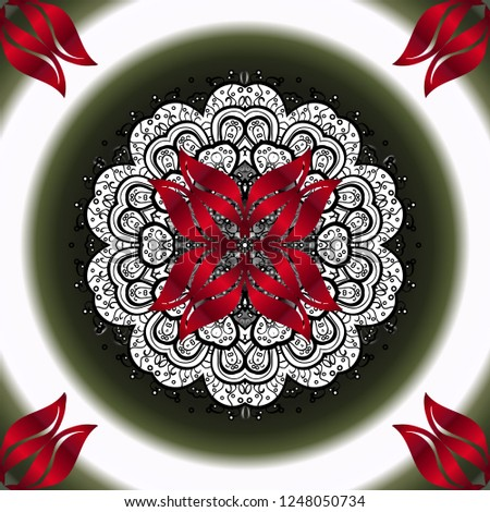 Colorful colored tile mandala on a red colors. Intricate floral design element for wallpaper, gift paper, fabric print, furniture. Unusual vector ornament decoration. Boho abstract ornamental pattern.