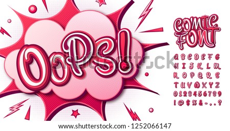 Colorful comic font, children's alphabet in style of comics, pop art. Multilayer funny pink letters on comic book page with speech bubbles for decoration of kid's illustrations, posters, banners.