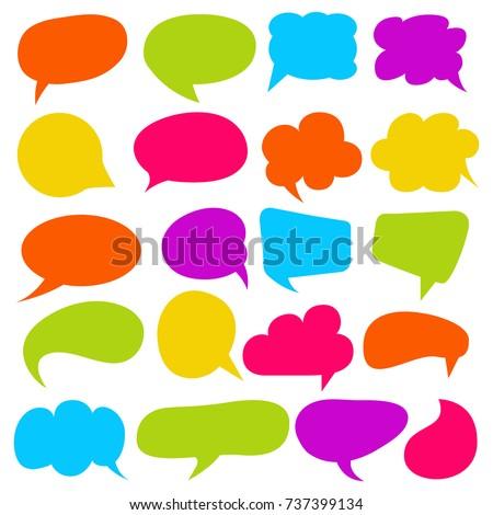 colorful comic speech bubble and dialogue set