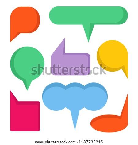 colorful comic speech bubble set