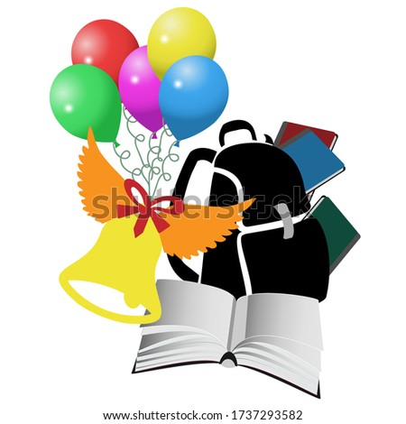 Colorful composition from a school backpack, textbooks, a bell and balloons. Congratulation, typography, new school year, holiday banner. High school graduation.