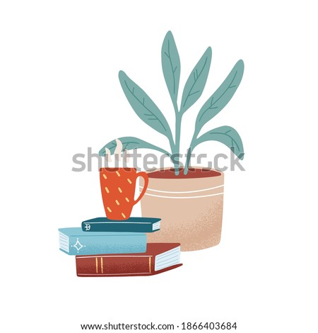 Colorful composition with a stack of books, hot beverage in the mug and houseplant isolated on white. Cozy scene with a pile of textbooks, cup of coffee and plant. Vector flat cartoon illustration