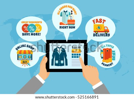 Colorful composition with online shop app screen tablet in hands finger tap swipe features shipping delivery payment worldwide flat vector illustration