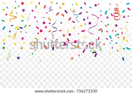 Colorful Confetti And Ribbon Falling On Transparent Background. Celebration & Party. Vector Illustration