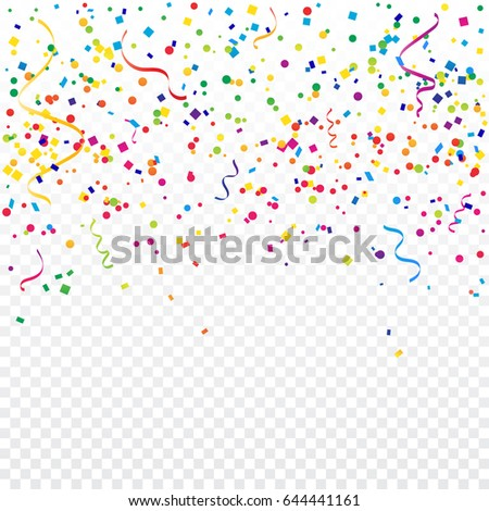 Colorful Confetti And Ribbon Falling On Transparent Background. Explosion. Vector Illustration. Multicolored