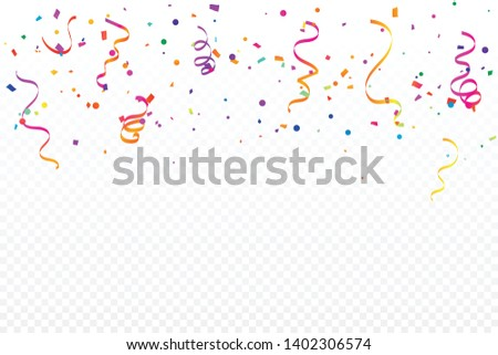 Colorful Confetti And Ribbon Falling On White Background. Celebration & Party. Vector Illustration