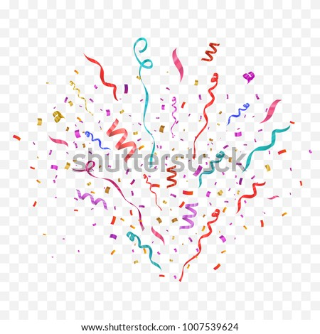 Colorful confetti burst isolated on checkered background. Festive template. Vector illustration of falling particles for holydays design.