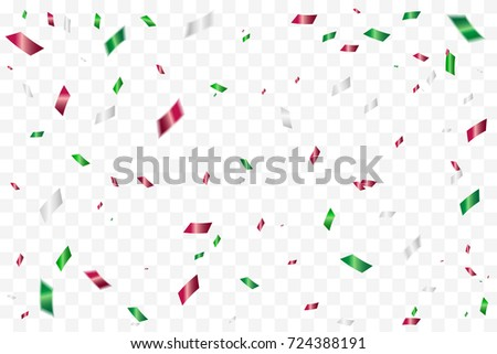 Colorful Confetti Falling On Transparent Background. Congratulations And Celebration Background. Mexico Or Italy, Bulgaria, Madagascar Flag Color Concept Template Design. Vector Illustration