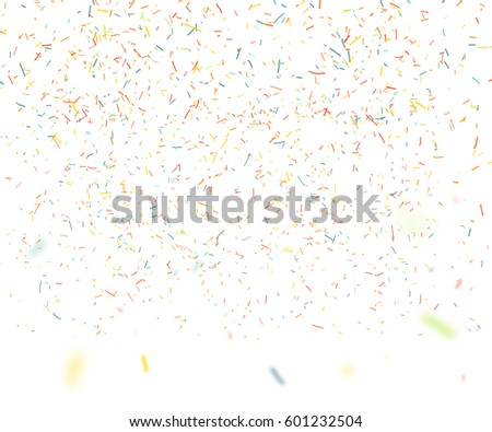 Colorful confetti falling randomly. Abstract background with flying particles. Vector illustration can be used for greeting card, carnival, celebration.
